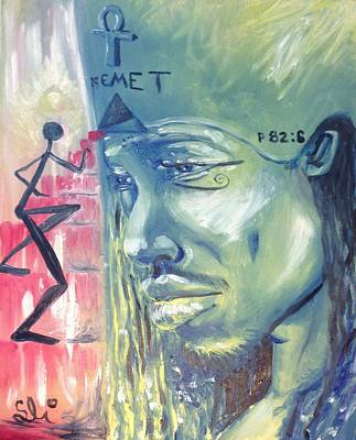 Conscious Painting - Ye Are Gods - Psalms 82-6 - Kemet by Sean Ivy aka Afro Art Ivy