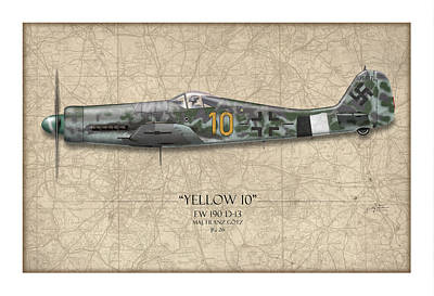Airplane Painting - Yellow 10 Focke-wulf Fw190d - Map Background by Craig Tinder