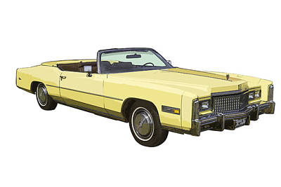 Yellow 1975 Cadillac Eldorado Convertible Print by Keith Webber Jr