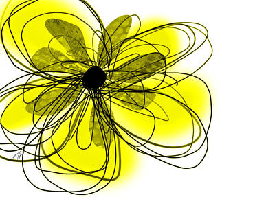 Yellow Abstract Flower Art  Print by Ann Powell