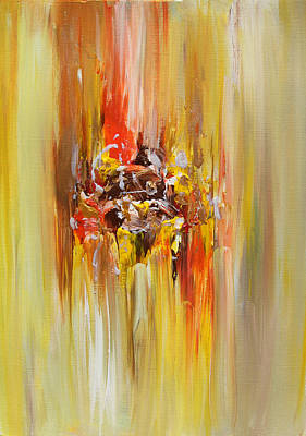 Copper Color Painting - Yellow Abstract Landscape by Julia Apostolova