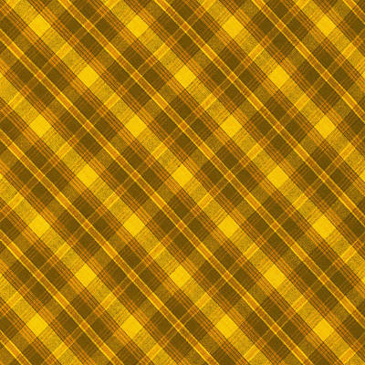 Yellow And Brown Diagonal Plaid Pattern Cloth Background Print by Keith Webber Jr
