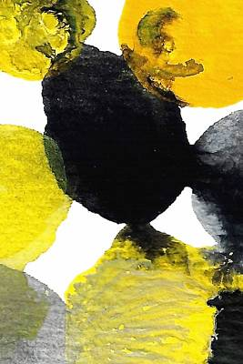Modern Abstract Painting - Yellow And Gray Interactions 9 by Amy Vangsgard