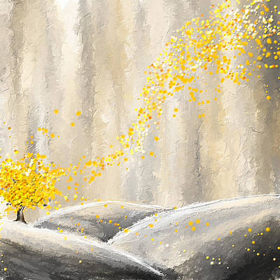 Brilliant Painting - Yellow And Gray Landscape by Lourry Legarde