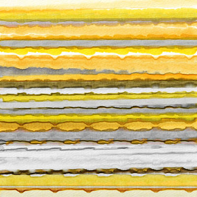 Yellow And Gray Stripes Art Print by Lourry Legarde