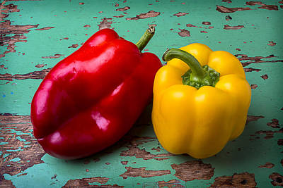 Yellow And Red Bell Pepper Print by Garry Gay