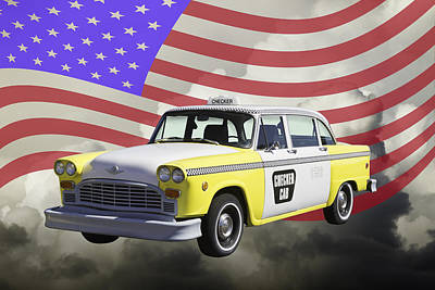 Yellow And White Checkered Taxi Cab And Us Flag Print by Keith Webber Jr
