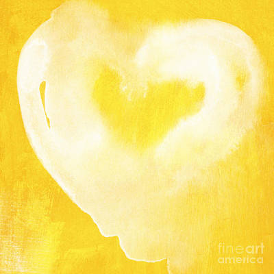 Yellow And White Love Print by Linda Woods