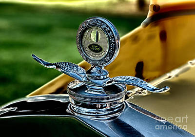 Yellow Antique Ford Hoodornament Print by Iris Richardson