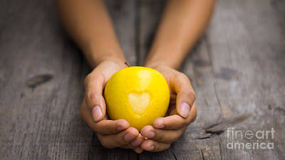 Yellow Apple With Engraved Heart Print by Aged Pixel