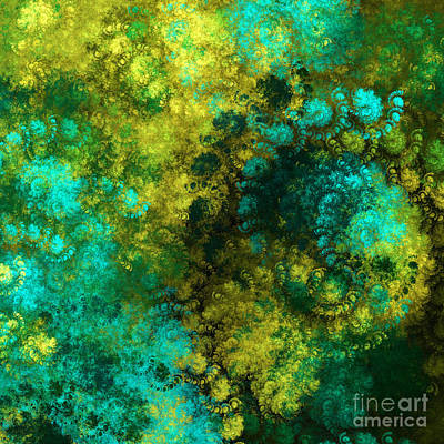 Yellow Blue And Green Explosion - Abstract Series 5 Of 5 - Fractal Art Print by Andee Design