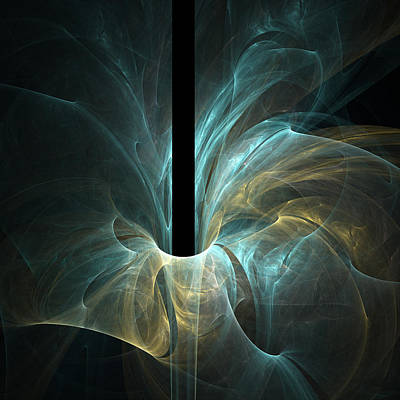 Fractal Digital Art - Yellow Blue Flower by Bijan Studio