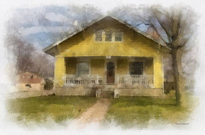 Yellow Bungalow Porch Photo Art 01 Print by Thomas Woolworth
