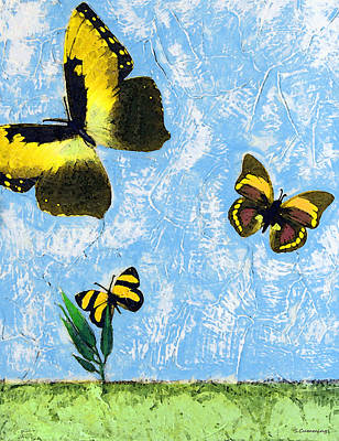 Yellow Butterflies - Spring Art By Sharon Cummings Print by Sharon Cummings