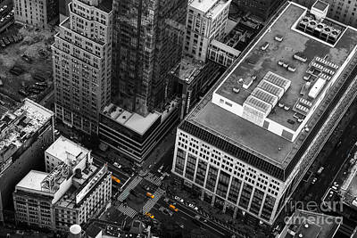 Yellow Cabs - Bird's Eye View Print by Hannes Cmarits