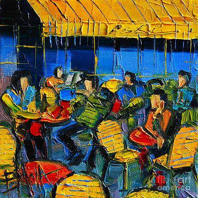 Blue Table Painting - Yellow Cafe by Mona Edulesco