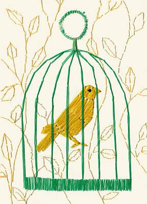 Canary Mixed Media - Yellow Canary Bird by Yumi Kudo