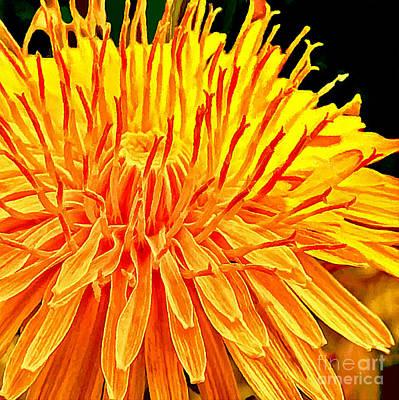 Yellow Chrysanthemum Painting Print by Bob and Nadine Johnston