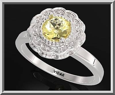 Vidar Jewelry Jewelry - Yellow Citrine Sterling Silver Engagement Ring - Statement Flower Ring by Roi Avidar