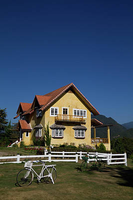Yellow Classic House On Hill In Thailand  Print by Tosporn Preede