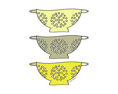 Yellow Colander Print by Amy Cummings