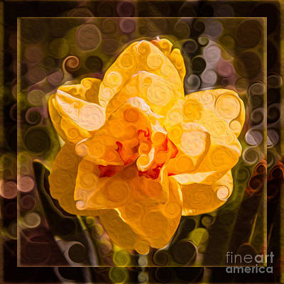 Georgia Okeefe Mixed Media - Yellow Daffodil In An Abstract Garden Painting by Omaste Witkowski