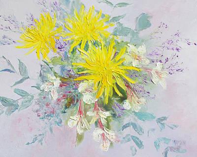 Peruvian Painting - Yellow Dahlias And Peruvian Lilies by Jan Matson