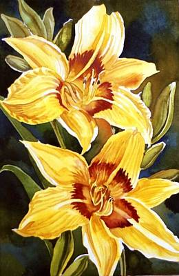 Yellow Daylilies Print by Alfred Ng
