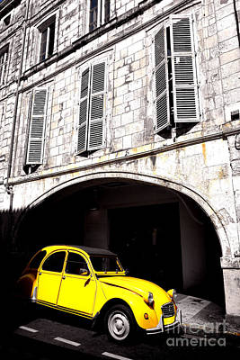 Yellow Deux Chevaux In Shadow Print by Olivier Le Queinec