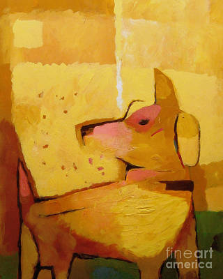 Abstract Dog Painting - Yellow Dog by Lutz Baar