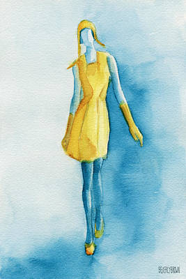 Model Painting - Yellow Ensemble - Watercolor Fashion Illustration by Beverly Brown Prints