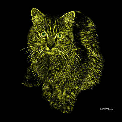 Cats Digital Art - Yellow Feral Cat - 9905 F by James Ahn