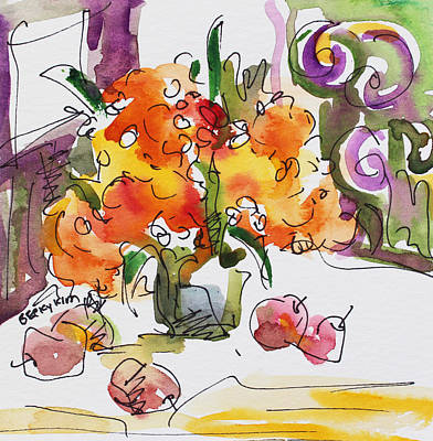 Watercolor With Pen Painting - Yellow Flowers And Apples by Becky Kim