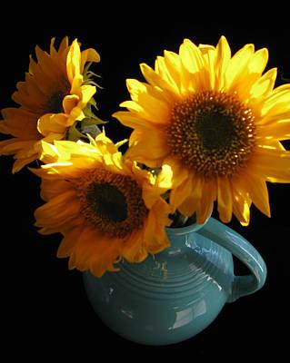 Fiestaware Photograph - Yellow Flowers In Fiesta Pitcher by Patricia Januszkiewicz