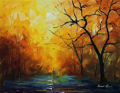 Famous Acrylic Landscape Painting - Yellow Fog 2 - Palette Knife Oil Painting On Canvas By Leonid Afremov by Leonid Afremov