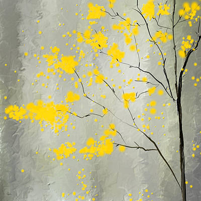 Impression Painting - Yellow Foliage Impressionist by Lourry Legarde