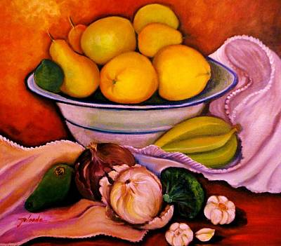 Yellow Fruits Print by Yolanda Rodriguez