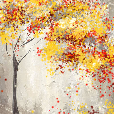Yellow Gray And Red Print by Lourry Legarde