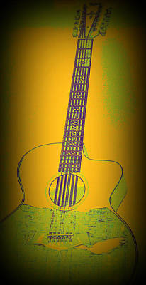 Yellow Guitar Original by Laurie Pike