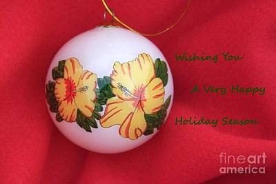 Photograph - Yellow Hibiscus Christmas Bulb by Mary Deal