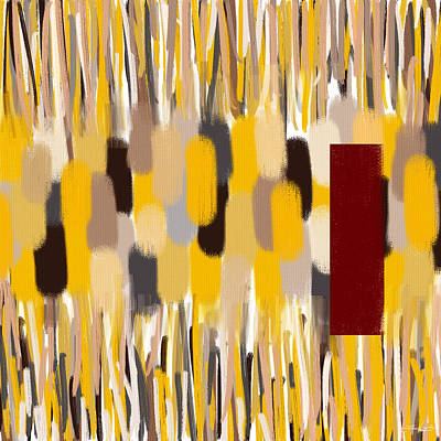 Red Abstract Painting - Yellow Intense by Lourry Legarde