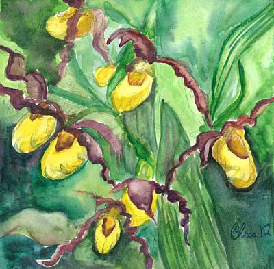 Yellow Ladies Slippers Print by Christina Plichta