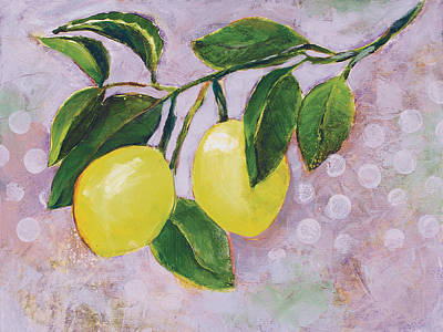 Fruit Tree Art Painting - Yellow Lemons On Purple Orchid by Jen Norton