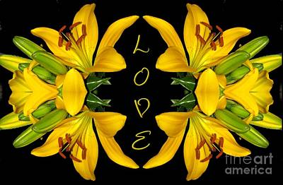 Yellow Lilies With Love Print by Rose Santuci-Sofranko