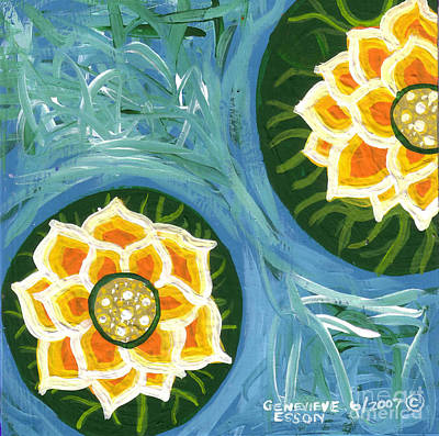 Yellow Water Lilies Print by Genevieve Esson