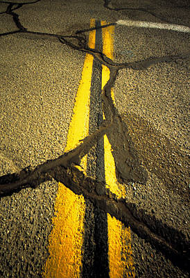 Yellow Lines With Repaired Cracks Print by Panoramic Images