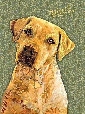 Retriever Digital Art - Yellow Love by Sharon Marcella Marston