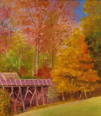 Yellow Maple Tree Near Old Mill Print by Anne-Elizabeth Whiteway