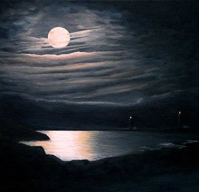 New England Lighthouse Painting - Yellow Moon On The Rise by Eileen Patten Oliver