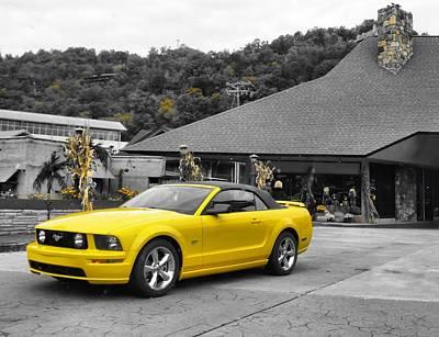 Yellow Mustang Print by Dan Sproul